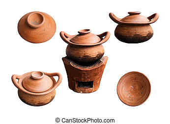 Clay pots on white background.