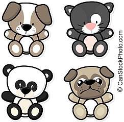 baby animals - vector cartoon illustration of four baby...