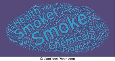 The Hazards of Secondhand Smoke text background wordcloud...