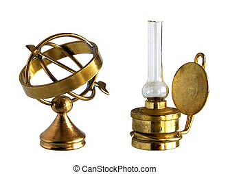 Ancient brass astrolabe and kerosene lamp - Miniature of...