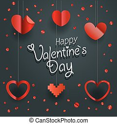 Happy Valentines Day greeting card. Different shiny hearts illustration.