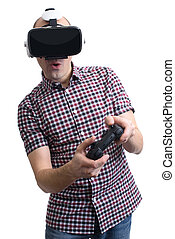 Man Wearing Virtual Reality Headset and Playing Video Game....