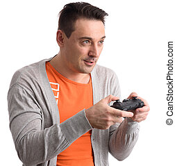 guy playing computer game