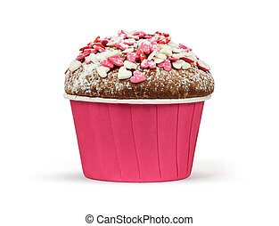 valentines day muffin isolated on a white background
