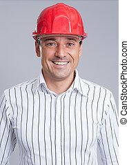 Retrato, sorrindo, engenheiro