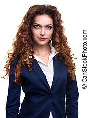 beautiful woman with curly hair - portrait of beautiful...