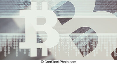 Bitcoin symbol - Electronic money concept. Cryptocurrency....