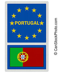 EU signs series - Portugal, photo realistic, isolated on...