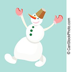 Dancing snowman with a bucket on his head on a blue background. Vector