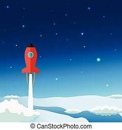 Stratosphere flat modern design. Rocket Space vector...