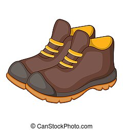 Hiking boots icon, cartoon style - Hiking boots icon....