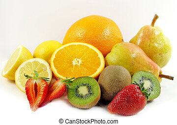 Sliced Fruit - Fruit sliced and presented against a white...