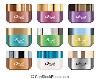 set of a real colorful cosmetic tube vector
