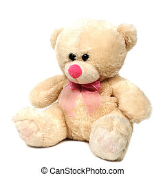 Single teddy bear doll on white background