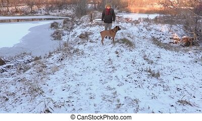 Man walking with dog in winter
