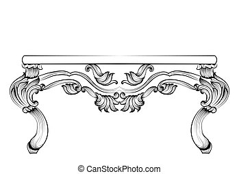 Rich Baroque Table. French Luxury carved ornaments decorated...