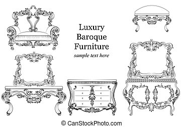 Baroque luxury style furniture set collection. Upholstery...