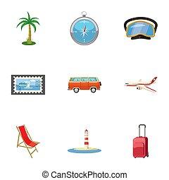 Rest on sea icons set, cartoon style - Rest on sea icons...