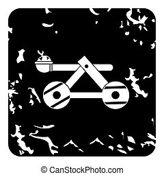Medieval catapult icon, grunge style - Medieval catapult...