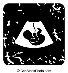 Embryo in stomach icon, grunge style - Embryo in stomach...
