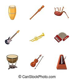 Device for music icons set, cartoon style - Device for music...