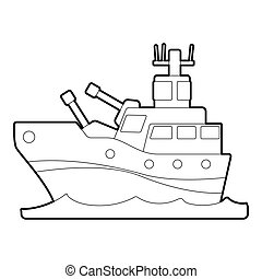 Battleship icon, outline style - Battleship icon. Outline...