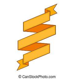 Yellow ribbon icon, cartoon style - Yellow ribbon icon....