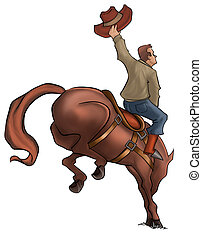 Bucking Rodeo Horse - cowboy in a horse jumping