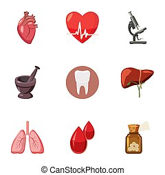 Diagnosis icons set, cartoon style - Diagnosis icons set....