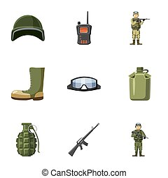 Weapons icons set, cartoon style - Weapons icons set....