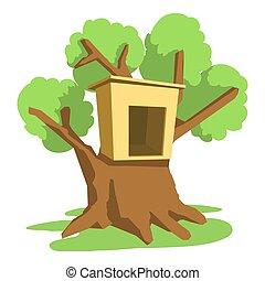 Tree house icon, cartoon style - Tree house icon. Cartoon...