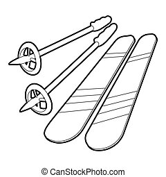 Skiing icon, outline style - Skiing icon. Outline...