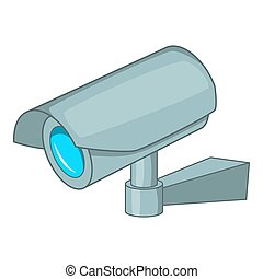 Surveillance camera icon, cartoon style - Surveillance...