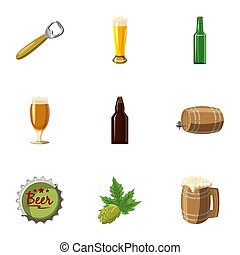 Beer festival icons set, cartoon style - Beer festival icons...