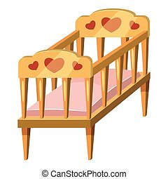 Baby bed icon, cartoon style - Baby bed icon. Cartoon...