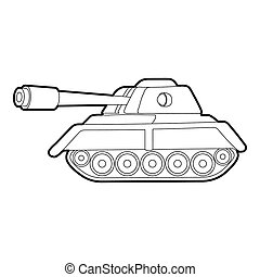 Tank icon, outline style - Tank icon. Outline illustration...