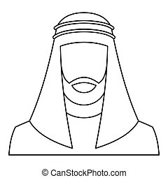 Arabic man icon, outline style - Arabic man icon. Outline...