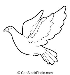 Dove icon, outline style - Dove icon. Outline illustration...