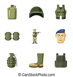 Equipment for war icons set, cartoon style - Equipment for...