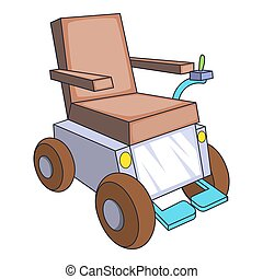 Self-propelled wheelchair icon, cartoon style -...