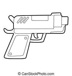 icono, estilo, arma de fuego, contorno