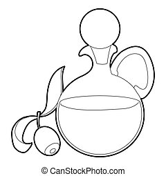 Olive oil icon, outline style - Olive oil icon. Outline...
