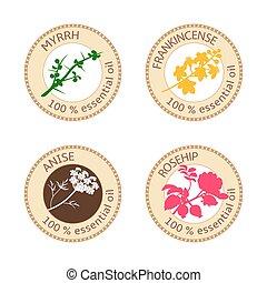 Set of flat essential oil labels. 100 percent. Myrrh, anise,...