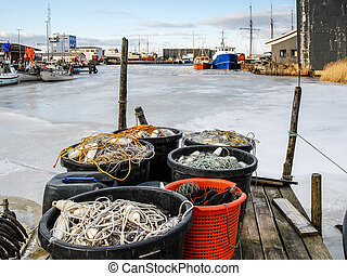 Frozen Harbor with fishing nets