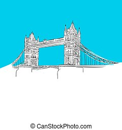 Tower Bridge, England, Blue Series, Hand-drawn Vector...