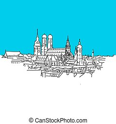 Munich panorama, Blue Series, Hand-drawn Vector Artwork