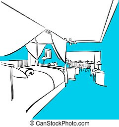Hotel room with terrace, Blue Series, Hand-drawn Vector...