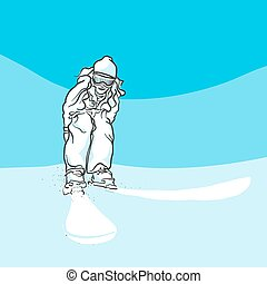 Skiing on slopes, Blue Series, Hand-drawn Vector Artwork