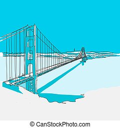 Golden Gate Bridge, Blue Series, Hand-drawn Vector Artwork