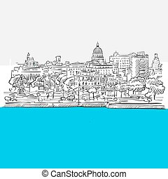 Havana, Cuba, panorama, Blue Series, Hand-drawn Vector...